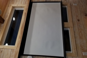 Daisy from Hummingbird Tiny Housing - 84 inch projection screen (Custom)